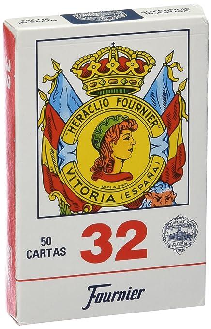 Fournier Nº 32 50 Cartas Espanolas Color Azul Rojo F20993
