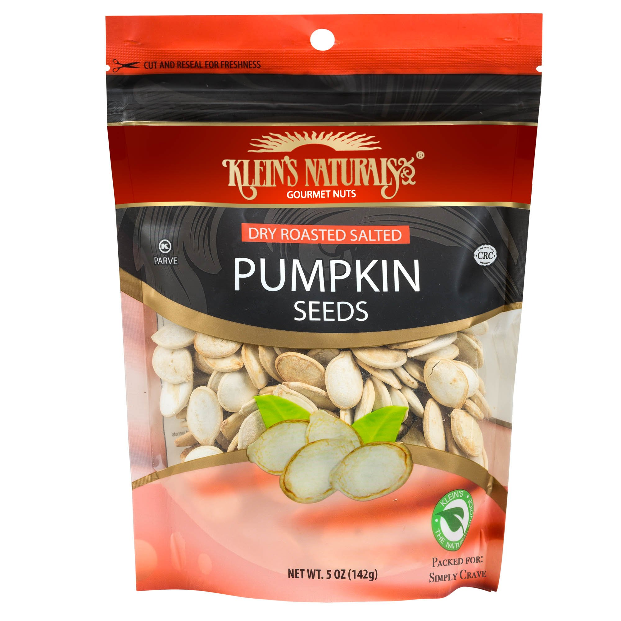 Kleins Naturals Dry Roasted Salted Pumpkin Seeds for Halloween Party, 5-Ounce (Pack of 6)