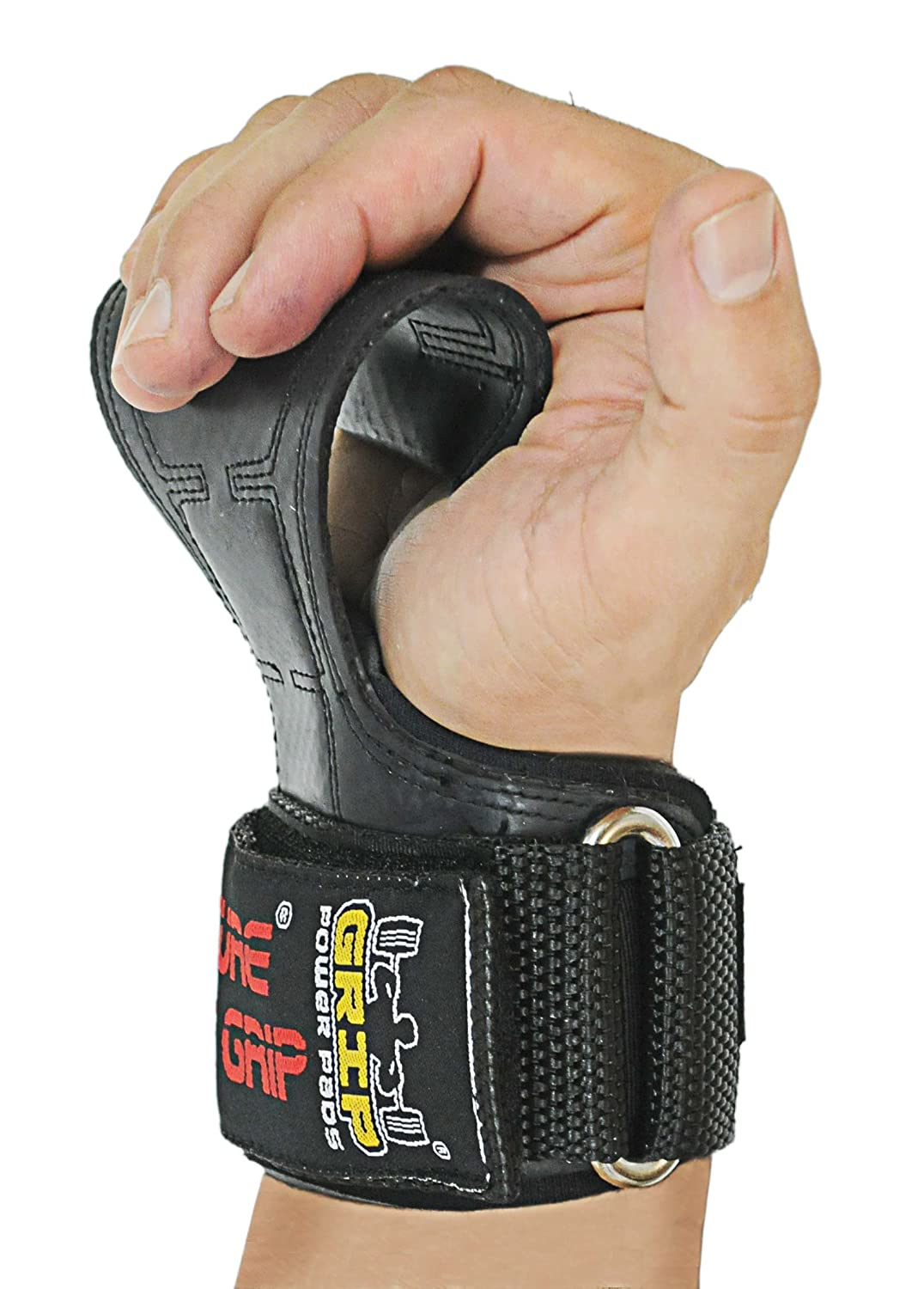 Alternative to Power Lifting Hooks For Deadlifts With Built in Adjustable Neoprene Padded Wrist Wrap Support. FIT Black Rubber Cobra Grips PRO Weight Lifting Gloves Power Lifting Heavy Duty Straps
