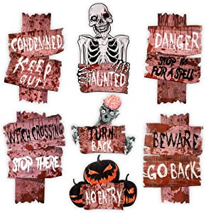 Unomor 7 Pack Halloween Decorations Outdoor Beware Yard Signs for Halloween Yard & Lawn Decorations with 10 Yards Stakes