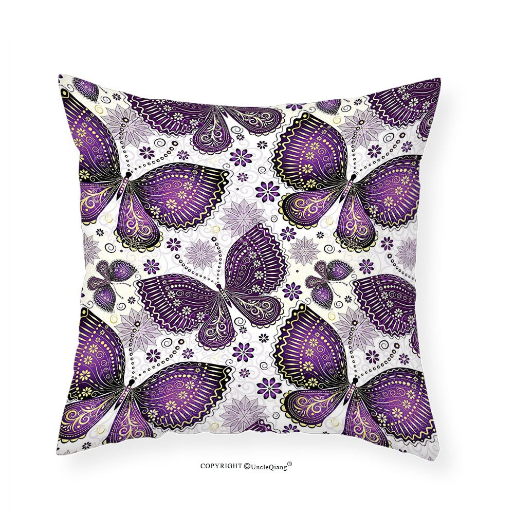 VROSELV Custom Cotton Linen Pillowcase Natural Ethnic India Asian Butterflies with Paisley Motif on Wings Flowers Art for Bedroom Living Room Dorm Plum Purple Lilac White 12''x12''