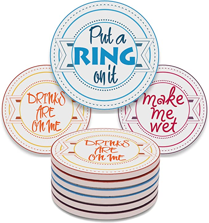 Funny Coasters For Drinks Absorbent With Holder 8 Set Coasters With Cork Base