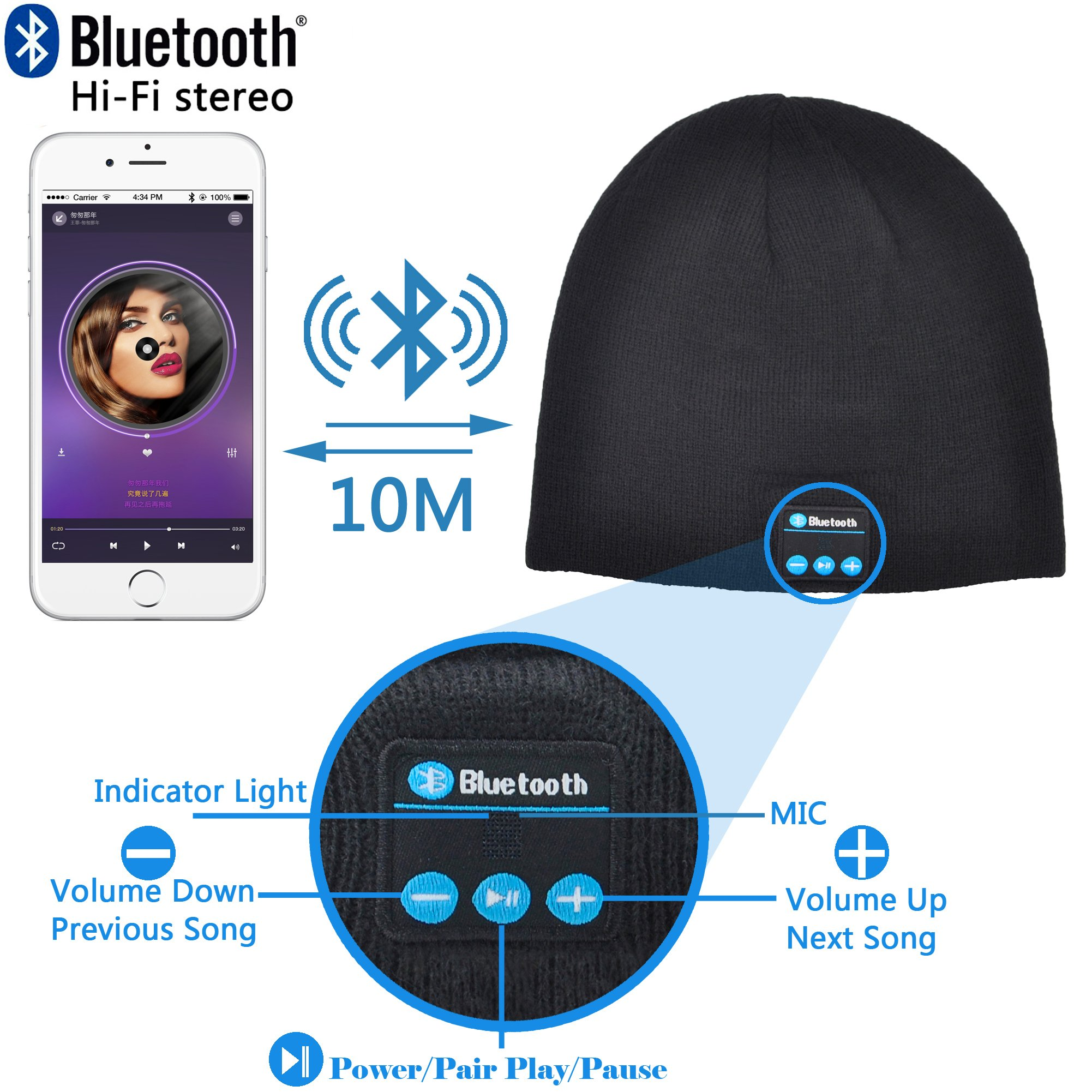 FULLLIGHT TECH 4.1 Bluetooth Beanie Hat Running Earphones Headphones Wireless Musical Knit Cap with Stereo Speakers & Mic Unique Christmas Tech gifts Winter hat for Women Men Teen Boys Young Girls
