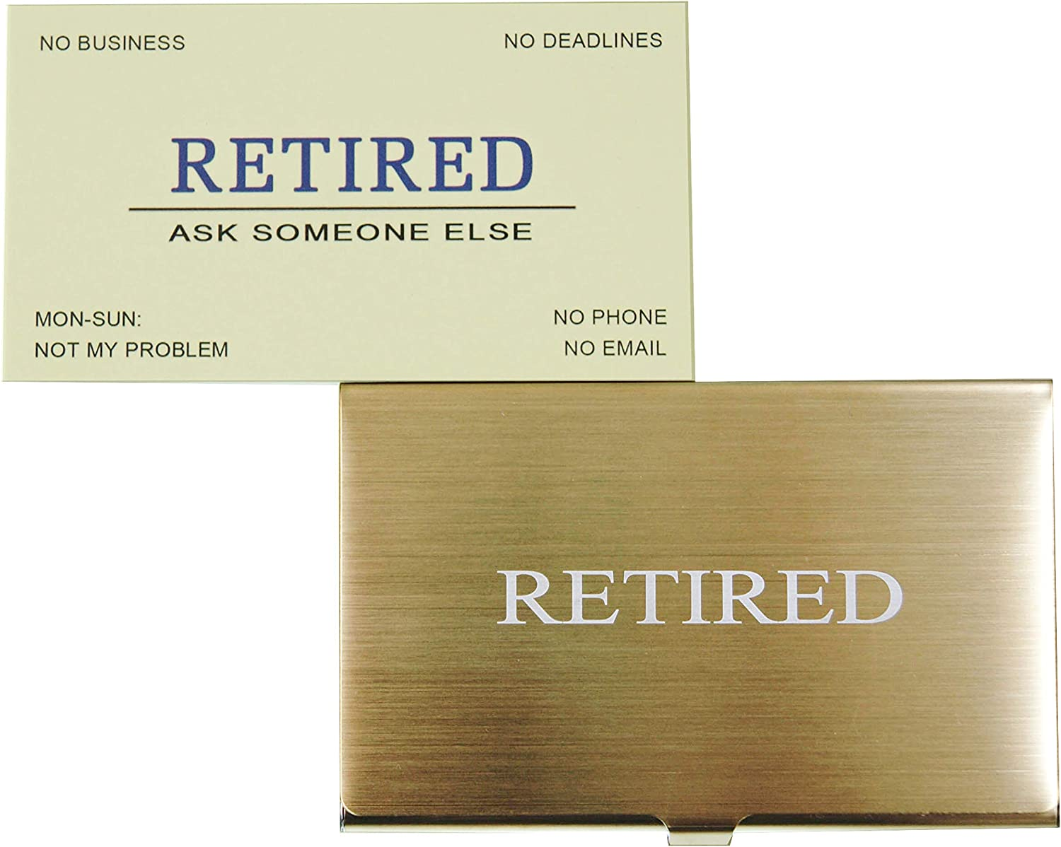 RXBC2011 Retired Business Cards Funny Retirement Gift (Pack of 50/With Gold Stainless Steel Case) For Retired Men, Women, Coworkers, Employees, Boss, Friend, Colleague