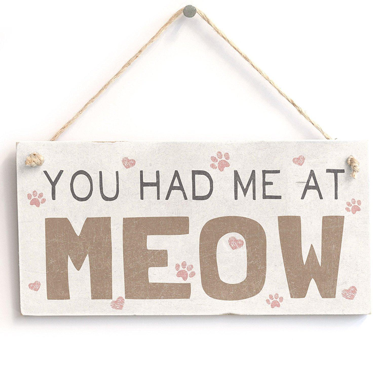 """Meijiafei 'You Had Me at Meow' Cat Sign - Door Sign/Plaque 10""""x5"""""""