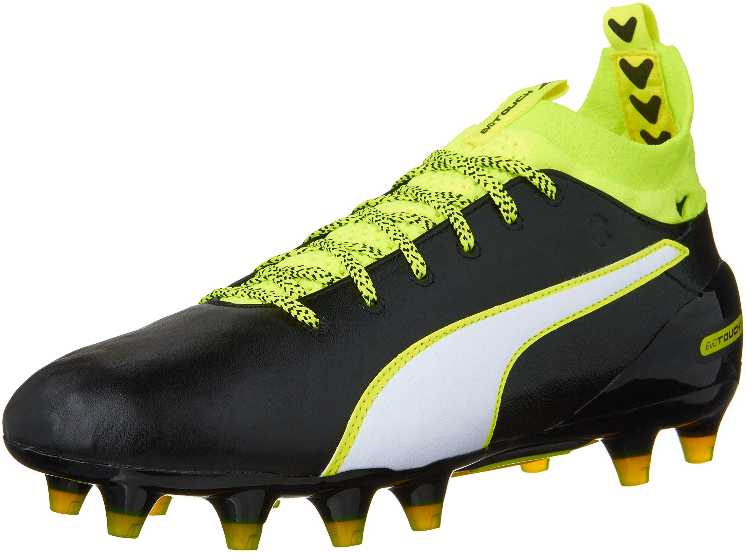 PUMA Men's Evotouch 1 FG Soccer Shoe, Black/White/Safety Grey, 10 M US by PUMA