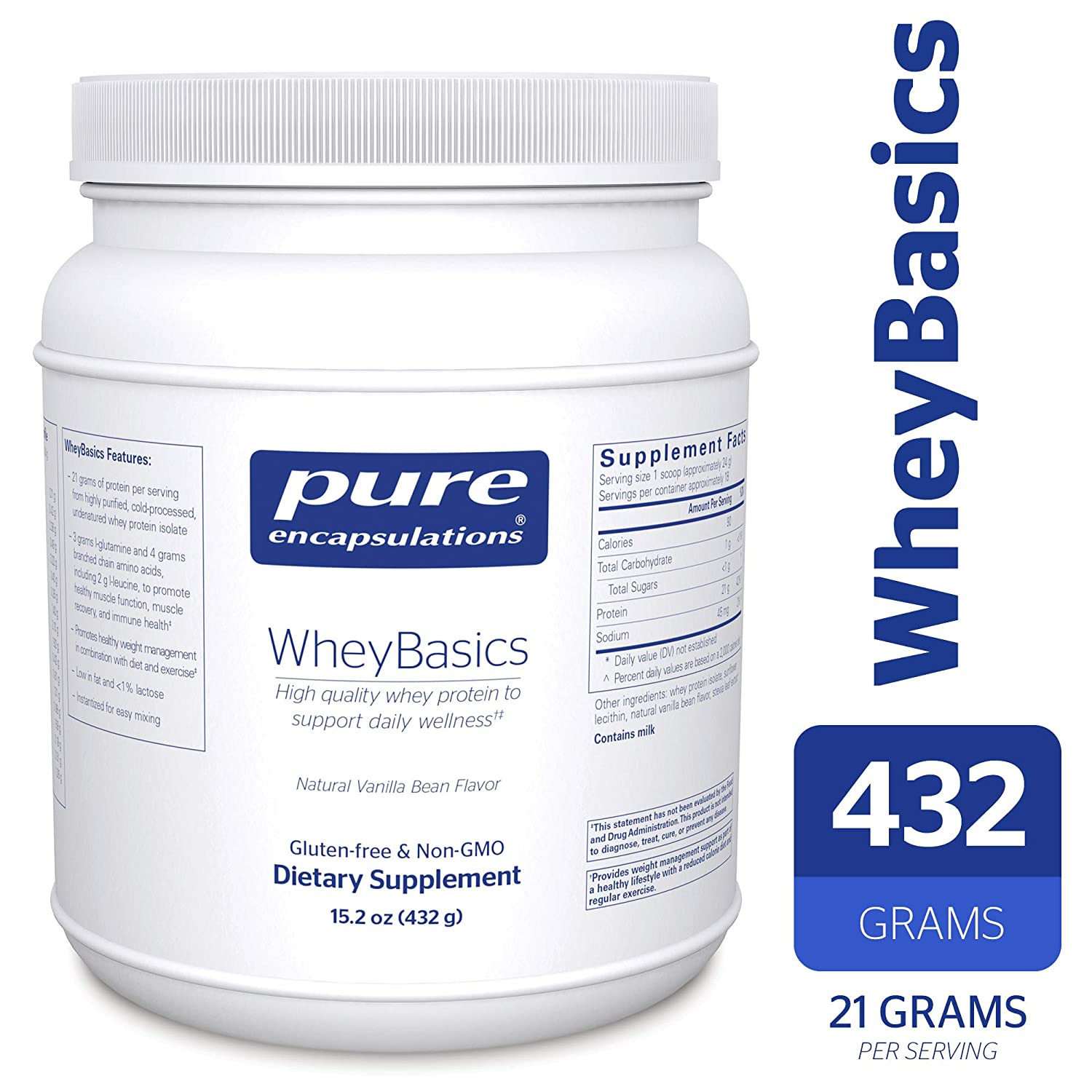 Pure Encapsulations – WheyBasics – Whey Protein Beverage Powder to Support Nutritional Health and Immune Function* – Natural Vanilla Bean Flavor – 432 Grams