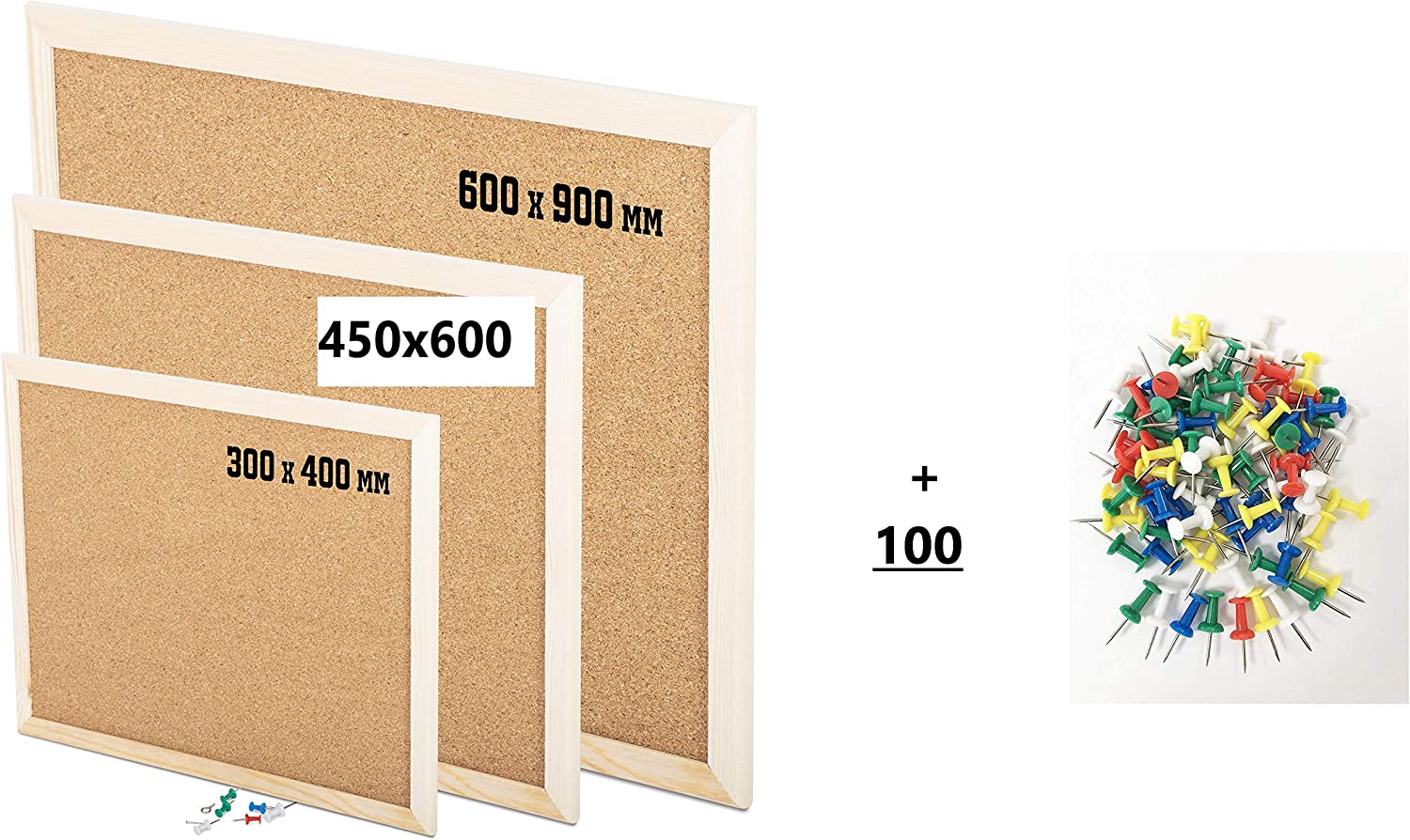 60CM x 90CM 600MM x 900MM Choose size from Drop Down KAV Wooden Frame Cork Notice Boards Office Memo School with 100 Push Pins Classic Wood Frame Board
