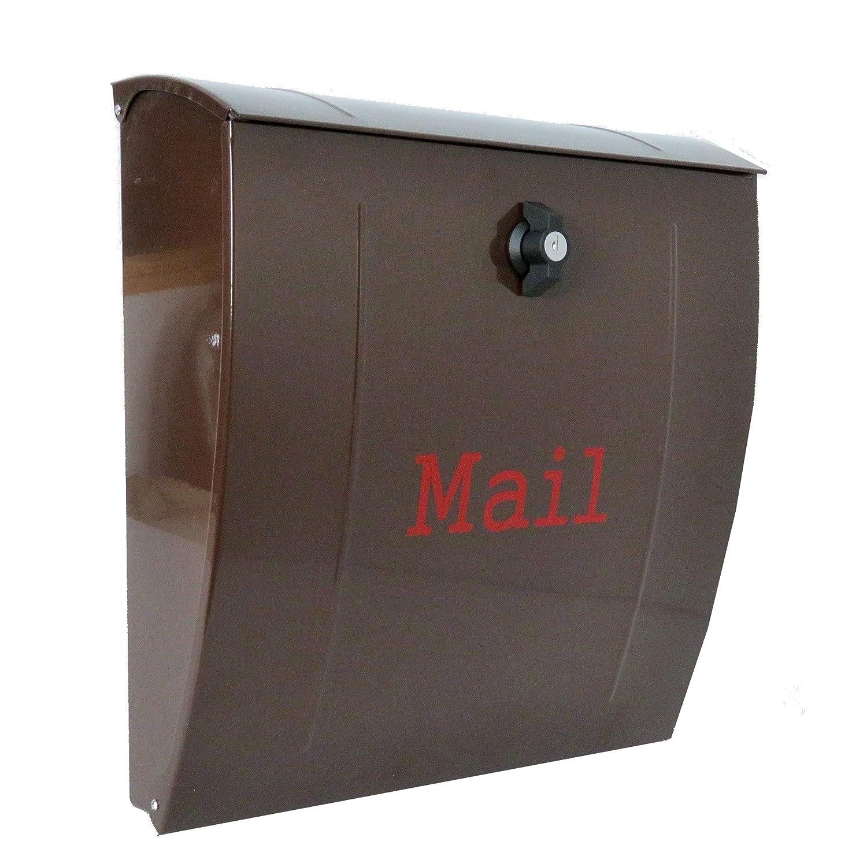 郵便ポスト メールボックス壁掛け ブラウン色 ステンレス m022   B008I5BXNM
