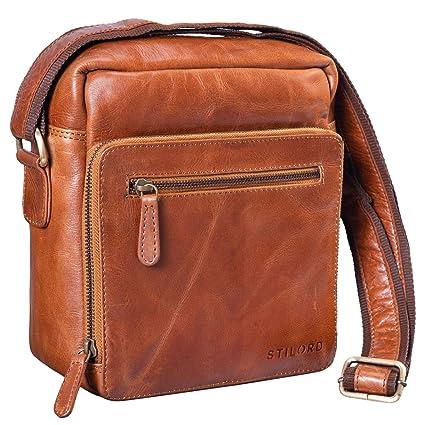 STILORD 'Nathan' Borsello da Uomo a tracolla in pelle Piccola borsa messenger in Cuoio a Spalla per Viaggi Escursioni, Colore:cognac lucente