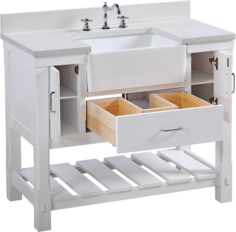 Charlotte 42 Inch Bathroom Vanity Quartz White Includes White Cabinet With Stunning Quartz Countertop And White Ceramic Farmhouse Apron Sink Amazon Com