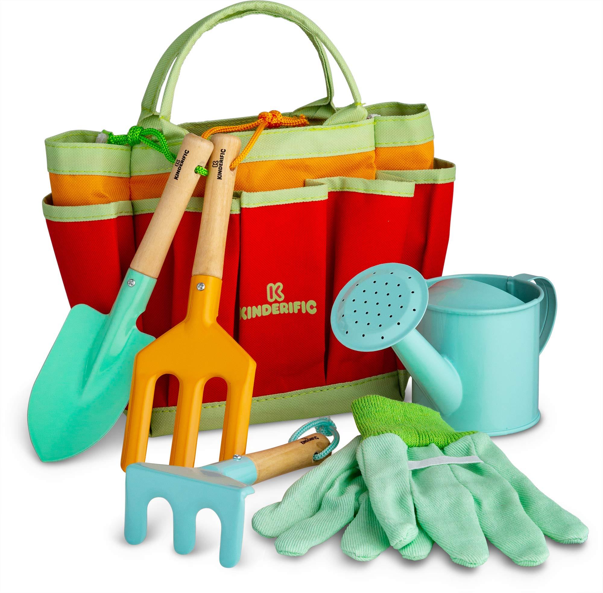 Kinderific Gardening Tool Set, Designed for Kids, STEM, Tote Bag, Spade, Watering Can, Rake, Fork, Trowel, Gloves.