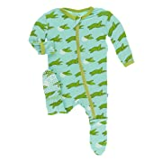 Print Footie with Zipper (Glass Sea Turtles - 6-9 Months)