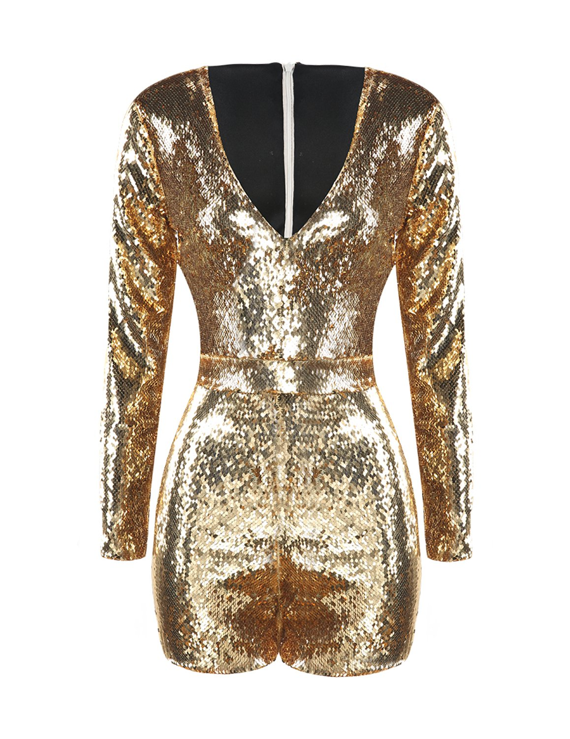 HaoDuoYi Women's Sparkly Sequin V Neck Party Romper Jumpsuit Dress(XXL,Gold)