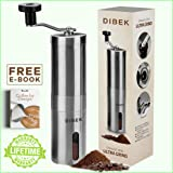 DIBEK Upgraded Version Manual Coffee Grinder, Conical Burr Mill, Brushed Stainless Steel