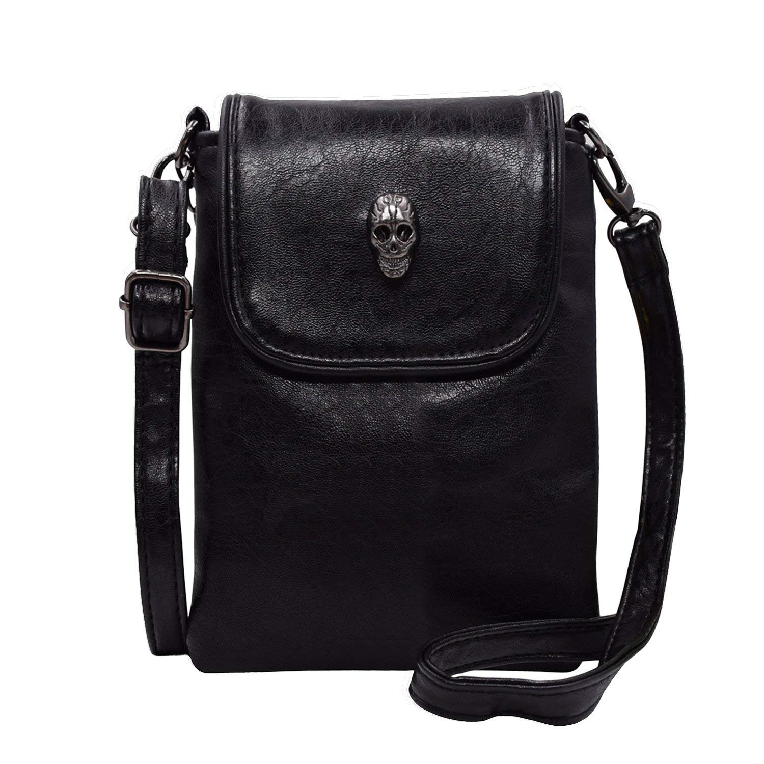 Women Single Shoulder Crossbody Bags, WITERY Gothic Studded Skull Head Mini Single Shoulder Crossbody Bag / Acrossbody Bags Satchel / Messenger Bag Cellphone Money Card Coin Storage Bag Wallet Black CLOA0016-02