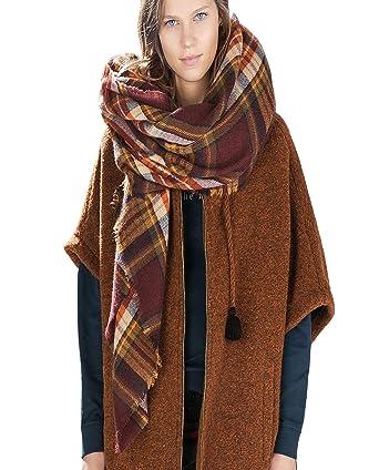 367c320308c Vincenza ® Womens Large Oversized Plaid Tarten Pashmina Wrap Poncho Thick  Style Scarf Patchwork Cape Shawl