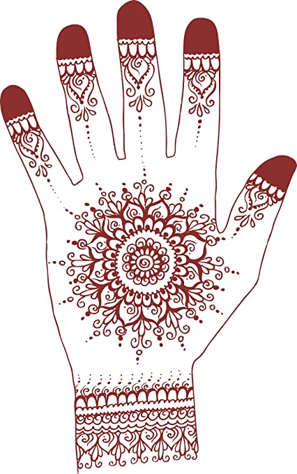 cc16e21b8 Image Unavailable. Image not available for. Color: Red Henna Tattoo Mandala  Flower Hand Art Cartoon #3 Vinyl Decal Sticker ...