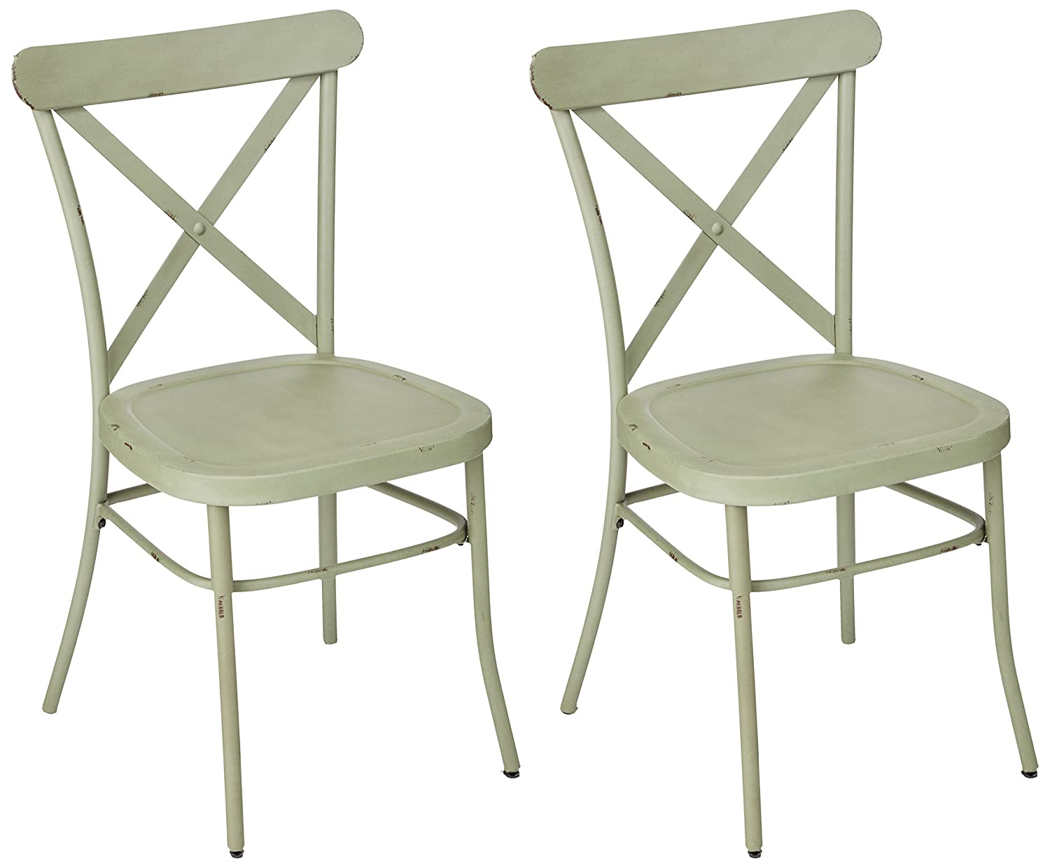 Ashley Furniture Signature Design – Minnona Dining Side Chair – Set of 2 – Cross Back – Vintage Casual Style – Antique Light Green Finished Metal