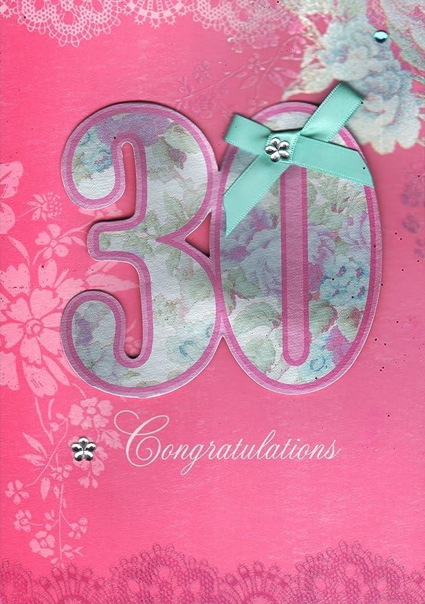30th hembra - Tarjeta de cumpleaños, diseño de hecha a mano ...