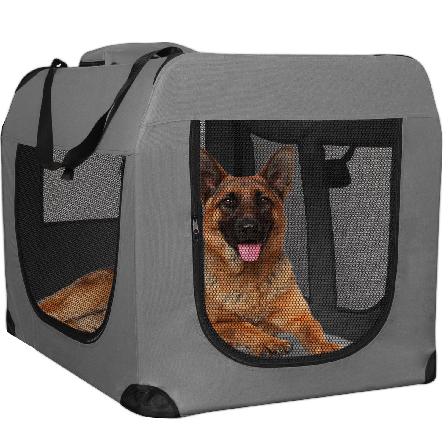 """Paws & Pals Foldable Soft Sided Pet Crate Training Kennel Carrier for Cats and Dogs – 24"""" x 17"""" x 16"""" Inches Gray by Paws & Pals (Image #2)"""