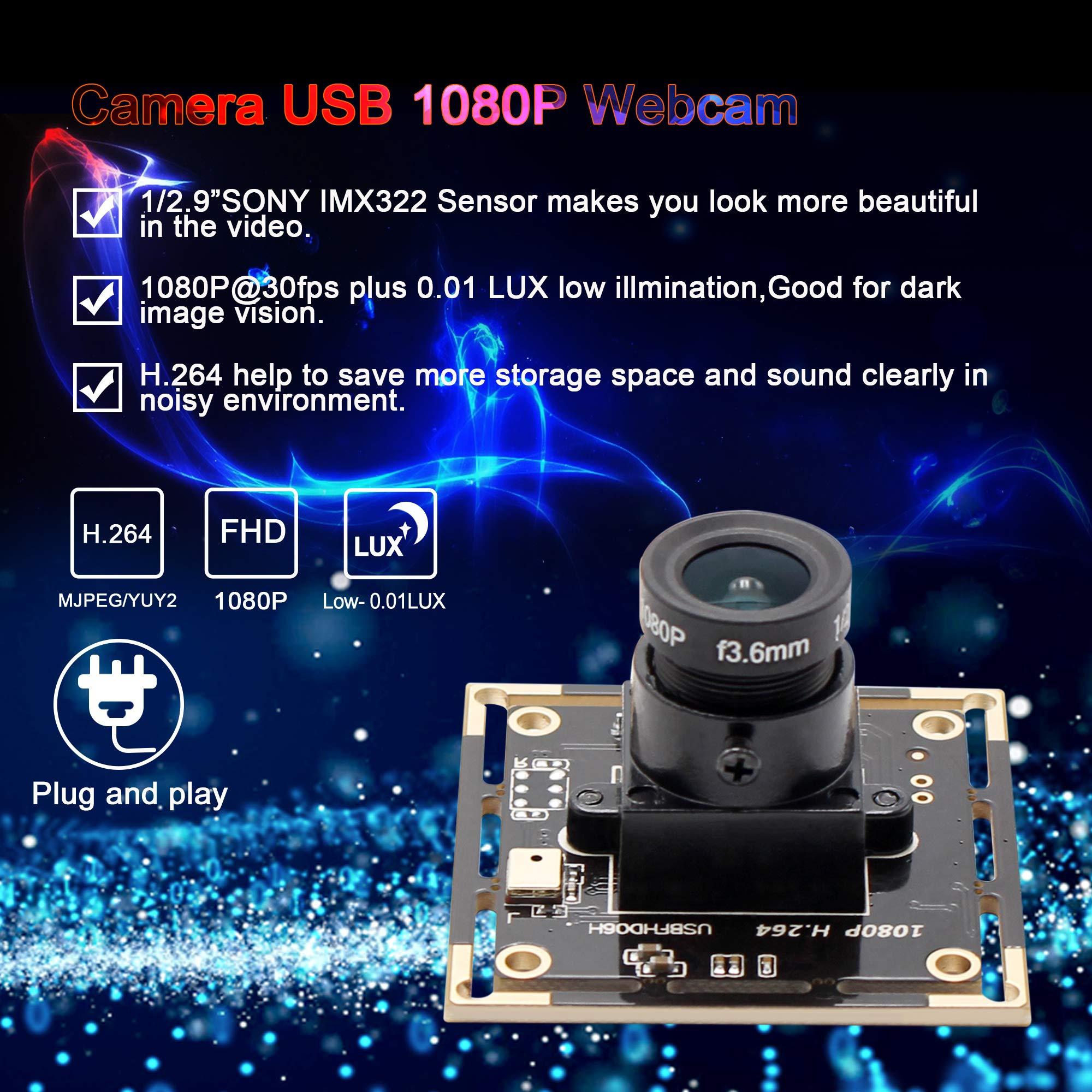 Camera USB 1080P USB Webcamera Sony IMX322 Sensor Webcam 0.01lux Low Illumination 2MP USB Camera Module 3.6mm Mini Video Camera Wide Angle Industrial Camera for Android Windows Linux PC Mac