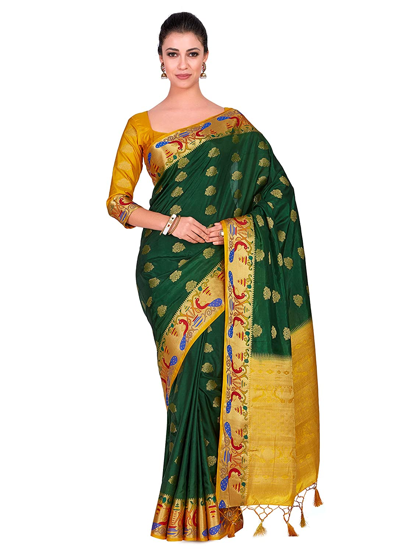99ed454584e274 ... green Source · Mimosa Art Wedding silk saree Paithani style With Contrast  Blouse