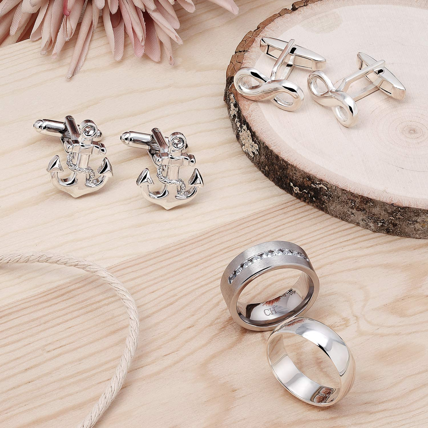 Gifts for the groom. Cufflinks with initials Silver Cufflinks for weddings Cufflinks for the groom Cufflinks with Infinite