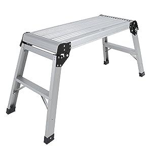 Best Choice Products Aluminum Platform Drywall Step Up Folding Work Bench Stool Ladder
