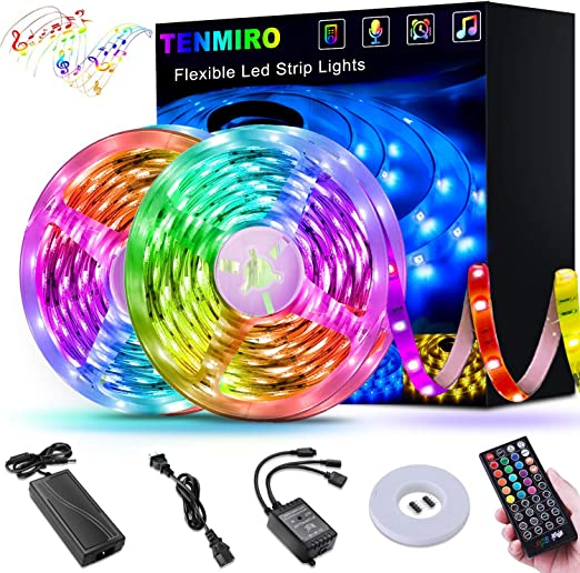 LED Strip Lights 6.6ft USB Powered Strip Light Music Sync 5050 RGB Color Changing IP65 Waterproof Flexible Tape Lights with Remote for TV Bar Decoration