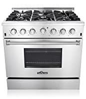 "Thor Kitchen 36"" Freestanding Professional Style Gas Range with 5.2 Cu. Ft. Oven, 6 Burners, Convection Fan, Cast Iron Grates, & Blue Porcelain Oven Interior, In Stainless Steel"