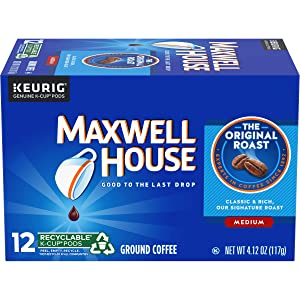 Maxwell House Original Roast Ground Coffee K Cups, Caffeinated, 12 ct - 4.12 oz Box (Pack of 6)