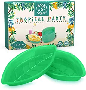 Hawaiian Party Supplies Snack Serving Trays for Party Platter and Tropical Luau Events, Reusable BPA Free Green Palm Leaf Plastic Plates, Fun Island Decorations