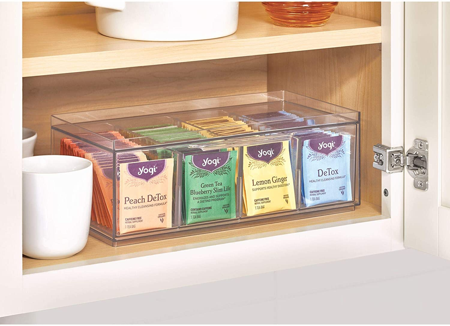 12.59 x 6.23 x 4.57 iDesign Crisp BPA-Free Plastic Stackable Tea Packet Storage Organizer Drawer with Lid for Kitchen Cabinets and Countertops Clear