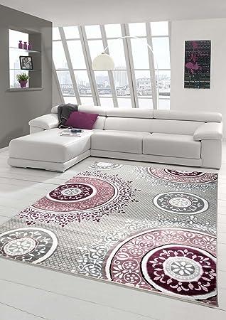 Designer Teppich Moderner Teppich Wohnzimmer Teppich Klassisch Gemustert  Kreis Ornamente In Pink Lila Grau Creme Größe