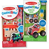 Melissa & Doug Paint & Decorate Your Own Wooden Vehicles Craft Kit 2 Pack – Monster Truck, Train