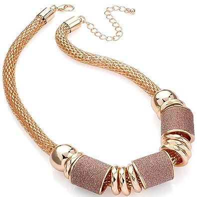 57e124c8ae Fashion jewellery chunky rose gold colour glitter wrap tubular style choker  necklace: Amazon.co.uk: Jewellery