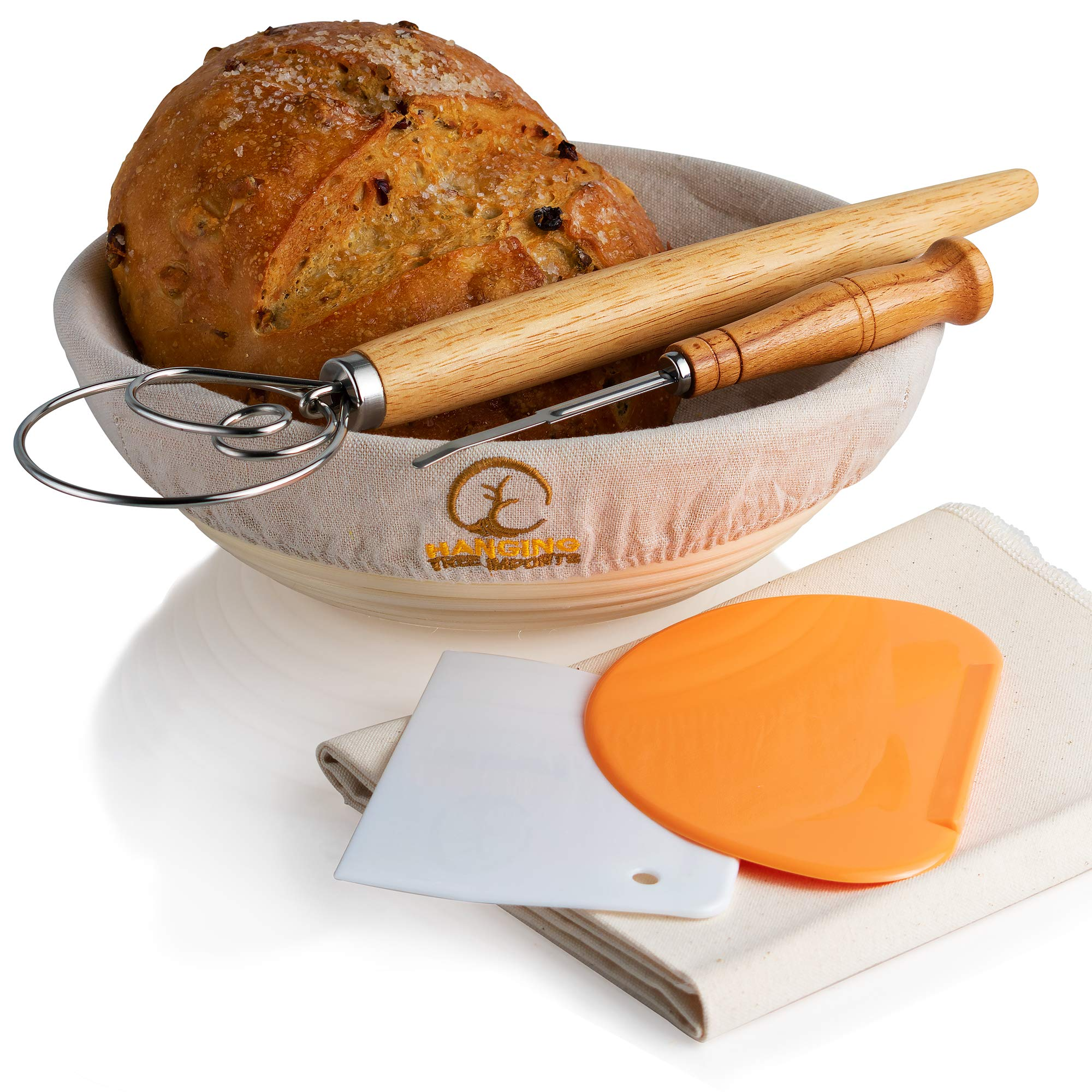 10 Inch Banneton Bread Proofing Basket Set - Includes Bread Lame, Linen Baking Couche, Dough Whisk, 2 x Dough Scrapers, Basket Liner - Brotform Rattan Basket for Bread Baking by Hanging Tree Imports
