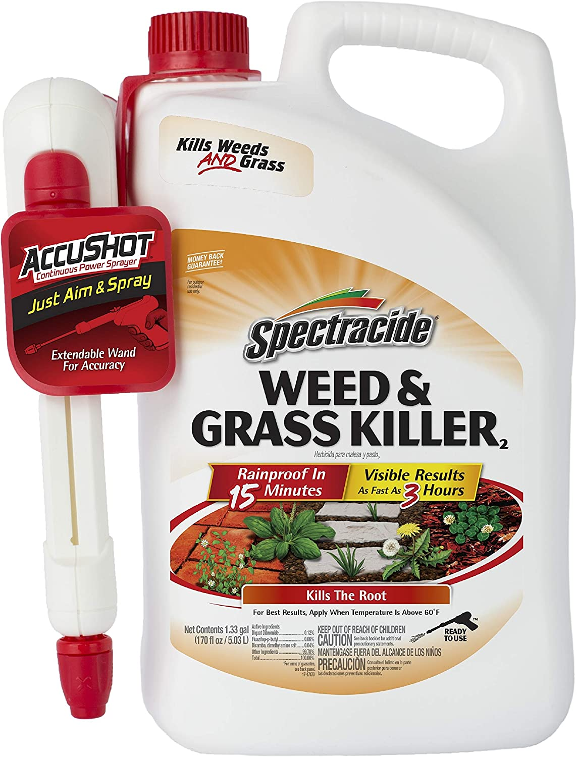 Spectracide Weed & Grass Killer2, AccuShot Sprayer, 1.33-Gallon