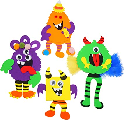 Amazon Com 4e S Novelty Halloween Crafts For Kids Silly Monsters Foam Magnet Craft Kits 12 Pack 4 Styles Fun School Home Group Activities Party Supplies Party Favors Classroom Arts