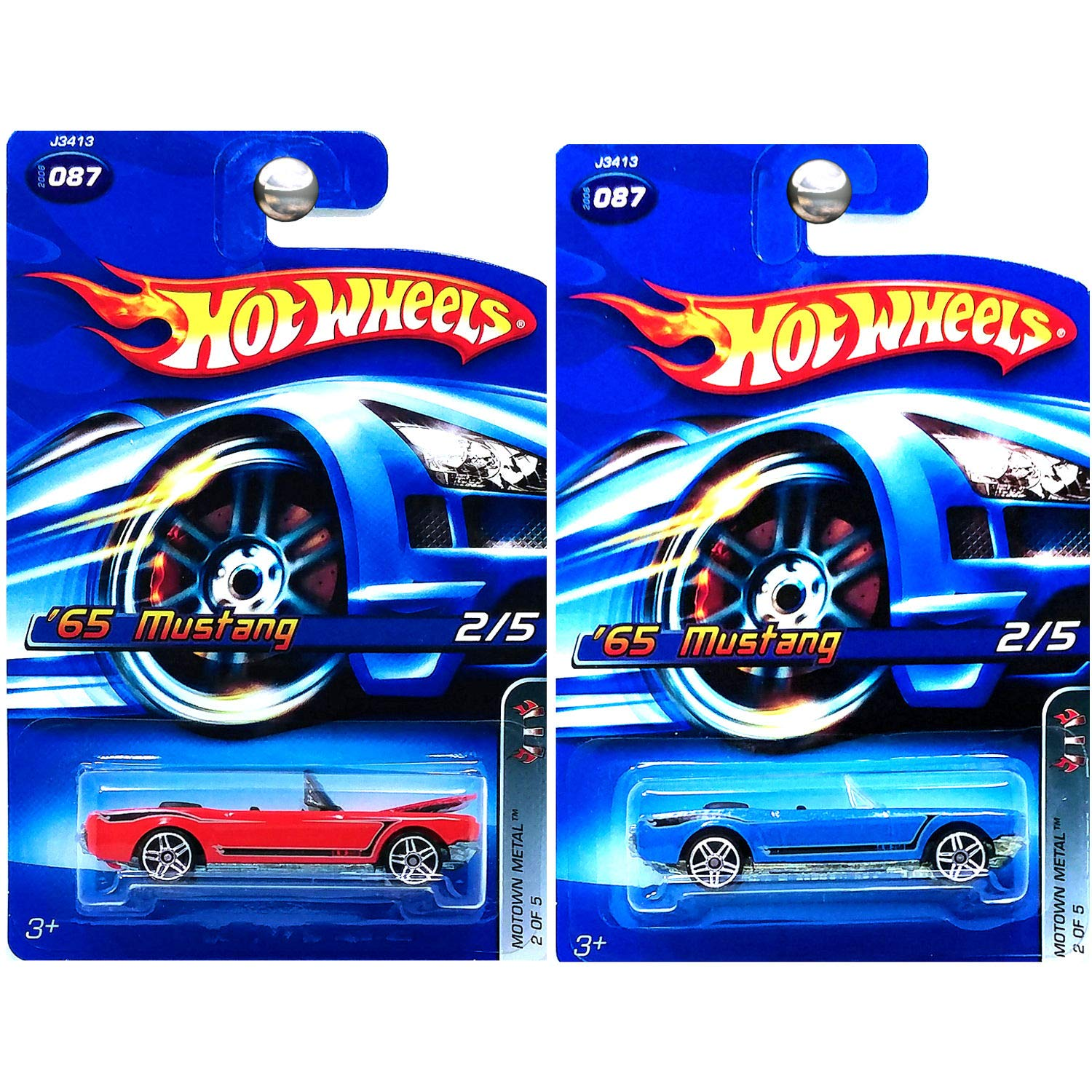 Amazon com hot wheels motown metal 1965 ford mustang convertible in red and blue set of 2 toys games