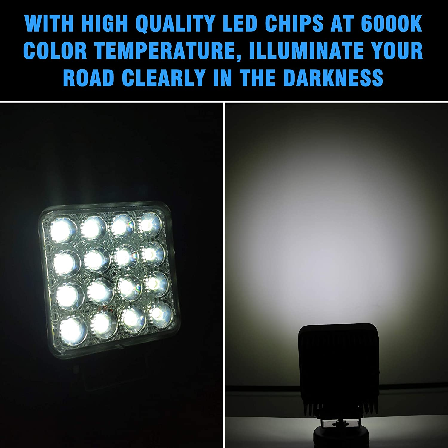 Woku Led Work Light 4.5 inch 48W 3500LM Square Waterproof Flood Beam LED Off Road Driving Fog Lights for ATV,SUV,UTV,Truck,3 Years Warranty