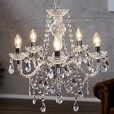 """Lustre de luxe """"ELEGANCE""""   Ø 54 cm, transparent   lustre avec 5 branches, cristaux acryliques"""