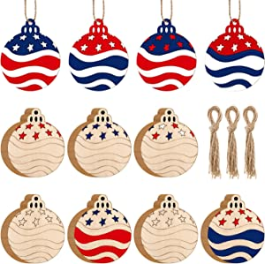 WILLBOND 60 Pieces Patriotic Ball Hanging Ornaments July of 4th Independence Day Wood Ornaments Stars and Stripes Ball with Rope for Party Decorations