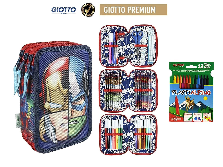 Plumier Estuche Premium de Cremallera Triple 3 Pisos Avengers Marvel 43 Piezas Contenido Giotto Regalo 12 Ceras Alpino Plastialpino