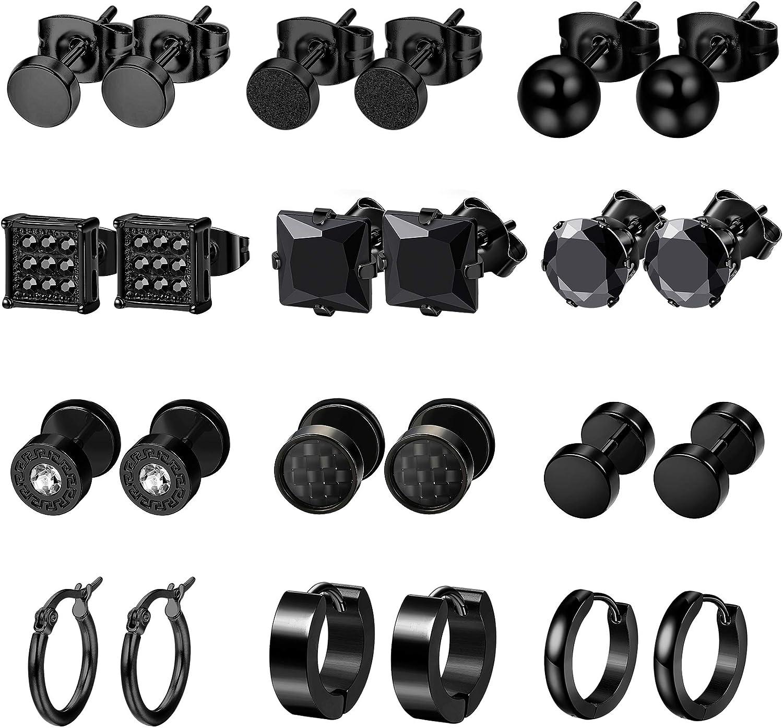 LOYALLOOK 12Pairs Stainless Steel Earrings For Men CZ Stud Earring Tiny Ball Stud Earrings Cartilage Earrings Endless Hoop Earrings For Men