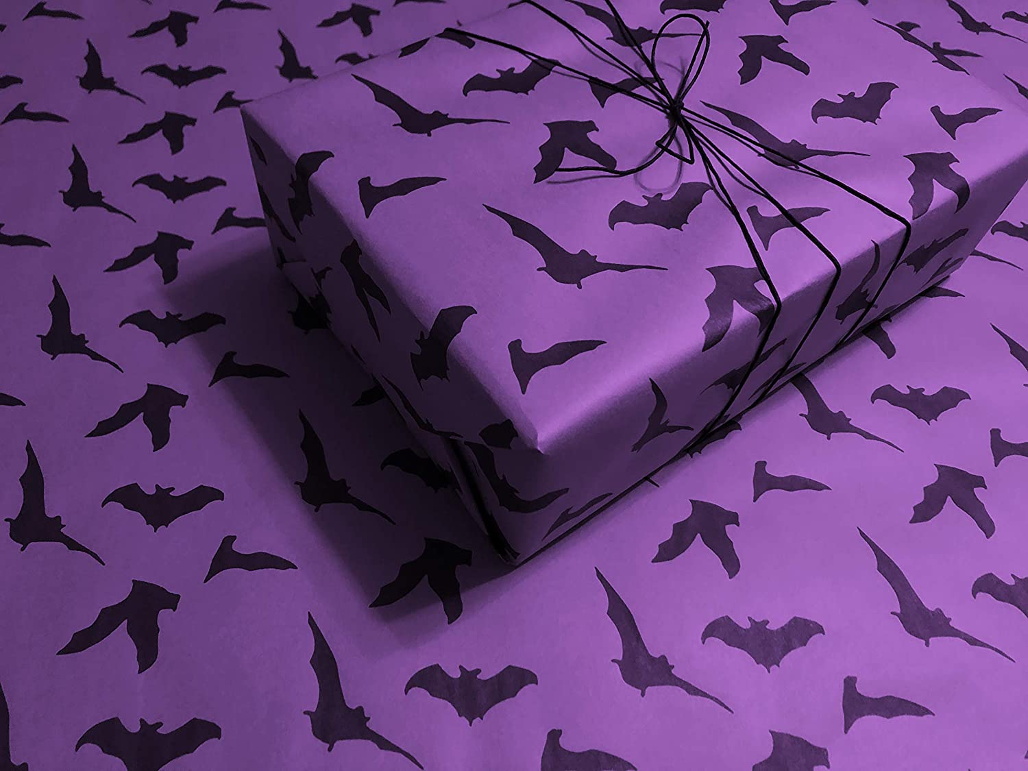 Black Bats on Purple Gothic Wrapping Paper up to 8 Feet of Birthday Gift Wrap