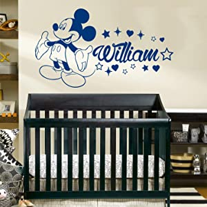 Mickey Mouse Name Wall Decal, Mickey Mouse Vinyl Sticker, Personalized Boy Name Decal, Nursery Baby Boy Room Decor ZX286