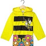 AccessoWear Puddle Play Little Girls' Bumble Bee Sunflowers Waterproof Outwear Hooded Rain Coat - Toddler