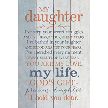 Daughter Wood Plaque with Inspiring Quotes 6x9 - Classy Vertical Frame Wall  & Tabletop Decoration | Easel & Hanging Hook | Christian Family Religious  ...